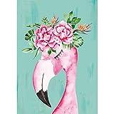 Eniref Diamantgemälde zum Selbermachen, Flamingo-Set für Erwachsene, mit Kristall-Strasssteinen, Wandkunst-Dekor, runde Diamantmalerei, Kreuzstich, 30 x 39,9 cm