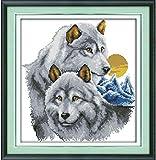 kreuzstich stickpackungen vorgedruckt bilder Für Erwachsene Stickpackung Stickbild Zwei Wölfe 40x50cm für Anfänger Kinder Weihnachts Geschenk Heimdekoration