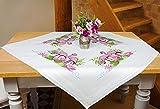 Kamaca Stickpackung Flamingos Kreuzstich vorgezeichnet aus 100% Baumwolle Stickset mit Stickvorlage (Mitteldecke 80x80 cm)