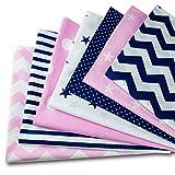 Baumwollstoff meterware Stoffpaket 7 Stück je 50x80cm - Stoffe zum Nähen patchwork stoff paket Stoffreste nähstoffe Baumwolle Öko-Tex weiß-blau-rosa