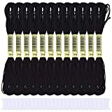 Stickgarn Embroidery Floss 24 Stränge Embroidery Floss White Cross Stitch Floss mit 30 Plastikseiden-Spulen, Crafts Floss Handstickgarn zum Stricken, Armbandherstellung Stickstichprojekte (Black)