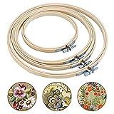 Bligo 4 Stück Stickrahmen Bambus Set, DIY Kreis Kreuzstich Ring, Einstellbar Holz Runde Stickerei Hoop, Sortiertes Embroidery Hoop Set für Kunsthandwerk Handliches Nähen(13cm, 17cm, 20cm, 23cm)