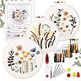 YINVA Anfänger Stickerei Set Stickerei Set, Blumenmuster Pflanzen Kreuzstich-Kit Starter Tools Kit mit 3 Stück Kunststoff-Stickrahmen, Farbfäden und Werkzeuge, für DIY Kunst, Handwerk, Nähen