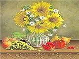Stickerei-Starter-Set-Yellow Flowers on The Table with Fruits-Kreuzstich-Set mit Möbelnähen handgefertigt Stickerei Ornament 40x50cm (11CT Vorgedruckte Leinwand)