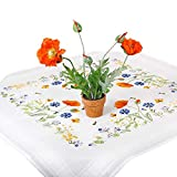 Stickpackung SOMMERWIESE, Tischdecken Set vorgezeichnet zum Sticken, Stickset mit Plattstich und Stielstich zum Selbersticken