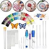 Cali Jade 69pcs Punch Needle Stickerei Set, Embroidery Pen Set mit Sticktüchern, Nadelsatz und Anderen Erforderlichen Werkzeugen, Stickerei Starter kit zum Nähen Strickfäden, DIY Stickerei