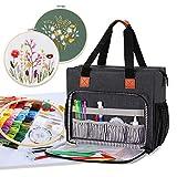 Luxja Tragetasche für Stickereiprojekte, Aufbewahrungstasche (nur Tasche), Schwarz