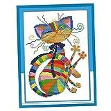 non-brand Stickpackung Kreuzstich vorgedruckt Stickset Stickbild Stickerei Stickvorlage Tiere Katzen Motiv mit Garn - 32 x 42 cm