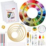 Pllieay Stickerei Starter Set, Stickerei Set, Kreuzstich Starter kit mit Anleitung, 5 Bambus-Stickrollen, 100 farbige Fäden, 3 Aida-Tücher und Kreuzstich-Werkzeug-Set zum Nähen