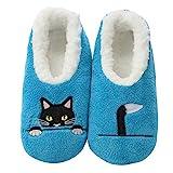 Snoozies Soft Plush Pairables Damen-Hausschuhe, (Blaue Peek-a-boo Katze.), Large