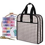 YARWO Aufbewahrungstasche für Stickereiprojekte mit mehreren Taschen für Stickrahmen (bis zu 30,5 cm), Stickgarn und Zubehör, graue Punkte (nur Tasche)