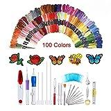 138-teiliges magisches Stickstift-Set, Stickmuster, Stanznadel-Set, Bastelwerkzeug, inklusive 100 Farbfäden für Heimwerker, Nähen, Stricken Item Name (aka Title)