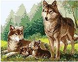 FFIKO Kreuzstich Stickerei DIY Handarbeit Stickpackung Set Wolf DIY Stickvorlage vorgedruckt Sticken Stickset Handwerk Geschenk (11CT 16x20 inch)