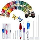 Magische Stickstift-Stanznadel, 50 Farben, Stickstift-Set, Bastelwerkzeug für Stickerei, Einfädler, Stricken, Nähwerkzeug (AC152)
