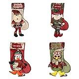 SVNXIUS Weihnachtsstrumpf zum Aufhängen, schönes Stickmuster, Set mit 4 Figuren, Pinguin, Eule, Elfen, Weihnachtsstrumpf, Weihnachtsstrumpf, für Weihnachten, Urlaub, Party, Familiendekorationen