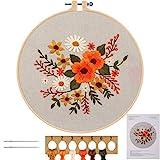 MWOOT Stickerei Starter Kit Kreuzstich Set,DIY Handgemachte Blumen Cross Stitch Embroidery Starter Kit für Erwachsene Anfänger