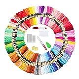 Aischens Stickgarn, 250 Farben Embroidery Floss, Embroidery Floss Weicher Baumwolle, 8M 6-Fädig Embroidery Threads Polyester Baumwolle Stickerei für Stickerei, Kreuzstich, Basteltwist, Armband Garn