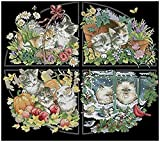 Kreuzstich Stickpackungen Vorgedruckt Anfänger Schönes Quartett 11CT Stamped Cross Stitch Pre-Printed Pattern Stickerei DIY Kinder Erwachsene Home Decoration 40x50cm