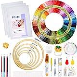 Pllieay 205 Pcs Stickerei Starter Set mit Anleitung (evtl. nicht in deutscher Sprache), 5 Bambus-Stickrollen, 100 farbige Fäden, 3 Aida-Tücher und Kreuzstich-Werkzeug-Set zum Nähen