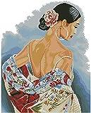 FFIKO Kreuzstich Stickerei DIY Handarbeit Stickpackung Set Schöner Rücken DIY Stickvorlage vorgedruckt Sticken Stickset Handwerk Geschenk (11CT 16x20 inch)