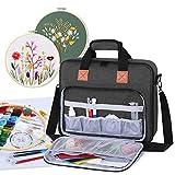 Luxja Aufbewahrungstasche für Stickereiprojekte, Stickerei-Sets (nur Tasche), Schwarz