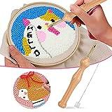 Alftek Punch Needle Stickerei Set Stanznadel Holzgriff Stickstift, Nähen Stickerei Punch Nadel, Stanznadeltuch, Nadelfädler, für Handwerk Stitching Applique-Verzierungen Anfänger