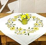 Kamaca Stickpackung Sonnenschein Kreuzstich vorgezeichnet aus 100% Baumwolle Mitteldecke 80 x 80 cm Stickset mit Stickvorlage