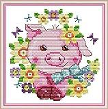 YEESAM ART Kreuzstich-Set für Erwachsene, Anfänger, Kinder, rosa Schwein, Sonnenblumen, 11 Ft, 23 x 24 cm, Stickerei-Set mit Mustern, Nadelspitze, Weihnachten (Schwein)
