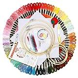 JOZEA Stickerei Kreuzstich Set 100 PCS Stickgarn Mehrfarbigen 5 Bambus Stickrahmen 2 Stoff Bestickt mit Tools Zubehör für Kreuzstich Stricken