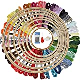 HAUSPROFI Stickerei Set Stickerei Starter kit Stickerei Kreuzstich Set Kreuzstich Tool Kit Einschließlich 50 Farbfäden und 12 Nadel, 7 Bambus Stickrahmen 4-12 Zoll