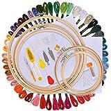 AFDEAL Sticken Set, Embroidery Starter Kit, Stickerei Kreuzstich Tool Set, Einschließlich 50 Farbfäden, 5 Bambus Stickrahmen, 12 von 18-Zoll 14 Count Classic Reserve Aida und Nadeln Set
