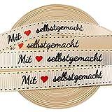 VINFUTUR 1 Rolle 45m×1cm Geschenkband Mit Liebe Selbstgemacht Dekoband Vintage Stoffbandrolle für Hochzeit Geburtstag Party Geschenkverpackung DIY Handwerk Basteln Bänder Nähen Handmade Label