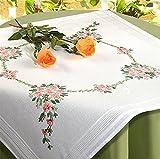 Kamaca Stickpackung Blumen Sinfonie Spannstich Stielstich Plattstich vorgezeichnet aus 100% Baumwolle Mitteldecke 80 x 80 zum Selbersticken