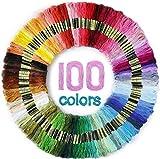 Maxee 100 Farben Stickgarn, Regenbogenfarbe, Stickgarn Wird für Kreuzstichfaden, Armbandfaden, Basteltwist, Kunsthandwerksdrehfaden