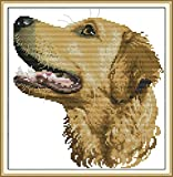 Awesocrafts Kreuzstich-Set, Kreuzstich, Tiere, einfache Muster, Kreuzstich-Stickset, Weihnachtsgeschenke, gestempelt oder gezählt (Hund, gezählt)