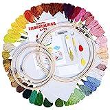 BangShou Stickerei Set, Embroidery Starter Kit Stickerei Set Kreuzstich Tool mit Bambusreifen, Fäden, Nadeleinfädler für Kinder, Erwachsene und Anfänger
