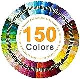 Vibeey Stickgarn, Sticktwist in Regenbogenfarben, 150 Farben pro Packung, Stickgarn Baumwolle sticktwist Set für Kreuzstichfäden, Armband Garn, Basteltwist