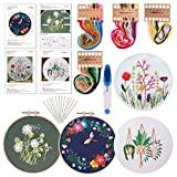 FEPITO 4 Sets Stickstarter Kit mit Muster und Anleitung Kreuzstich Kit Enthält 4 teilige Stickereien mit Blumenmuster, 2 teilige Stickrahmen, Schere, Farbfaden Nadel Kit