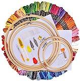 AFDEAL Stickerei Set, Kreuzstich Starter kit, Stickerei Kreuzstich Tool Kit, Einschließlich 100 Farbfäden, 5 Bambus Stickrahmen, 12 von 18-Zoll 14 Count Classic Reserve Aida und Nadeln Set