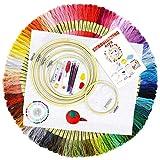 BOZHZO Stickerei Set, Stickerei Starter Kit, Kreuzstich Set 100 Farbfäden Linien, 5 Stickrahmen, 3 Aida Stoff, Nadeln Set und Zubehör für Anfänger